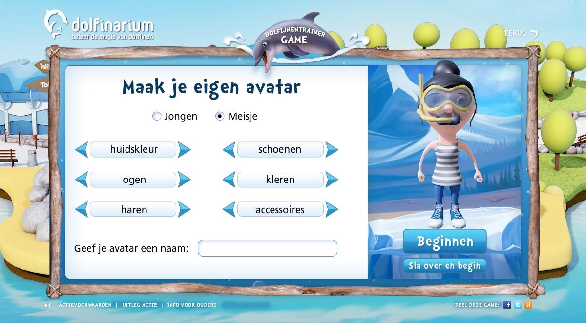 Dolfijnentrainer avatar keuze