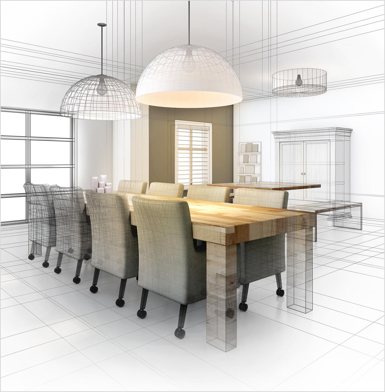 3D Lijnen tekening woonkamer