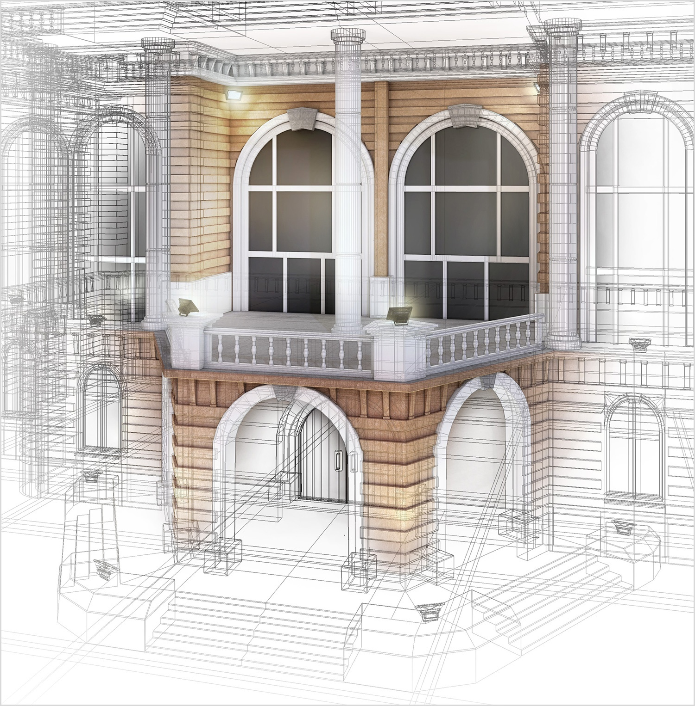 3D Lijnen tekening architectuur