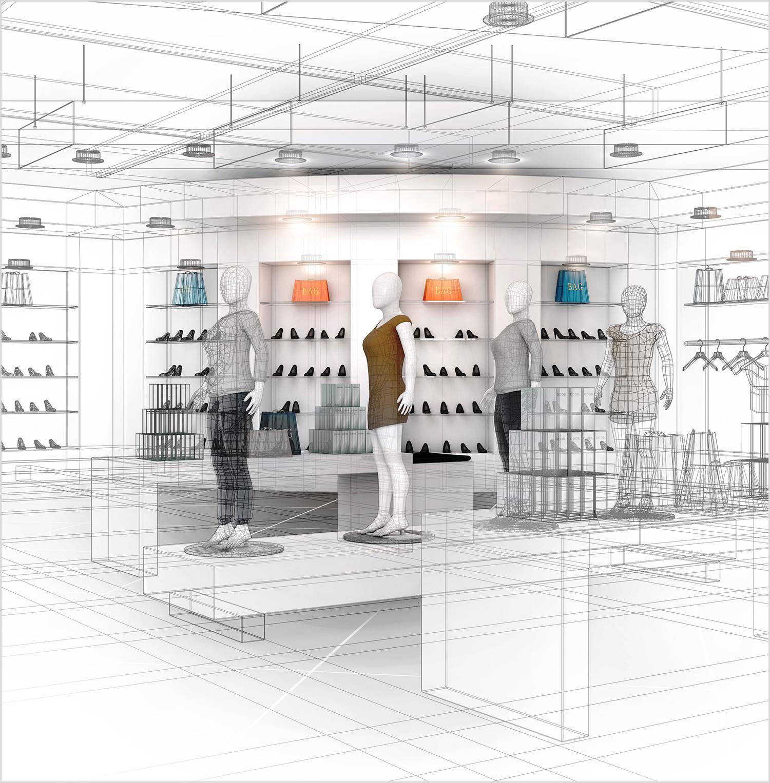 3D Lijnen tekening winkel