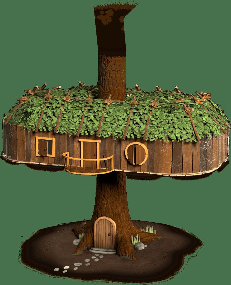 3D illustratie boomhut
