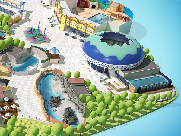Dolfinarium Plattegrond, 3D Illustratie