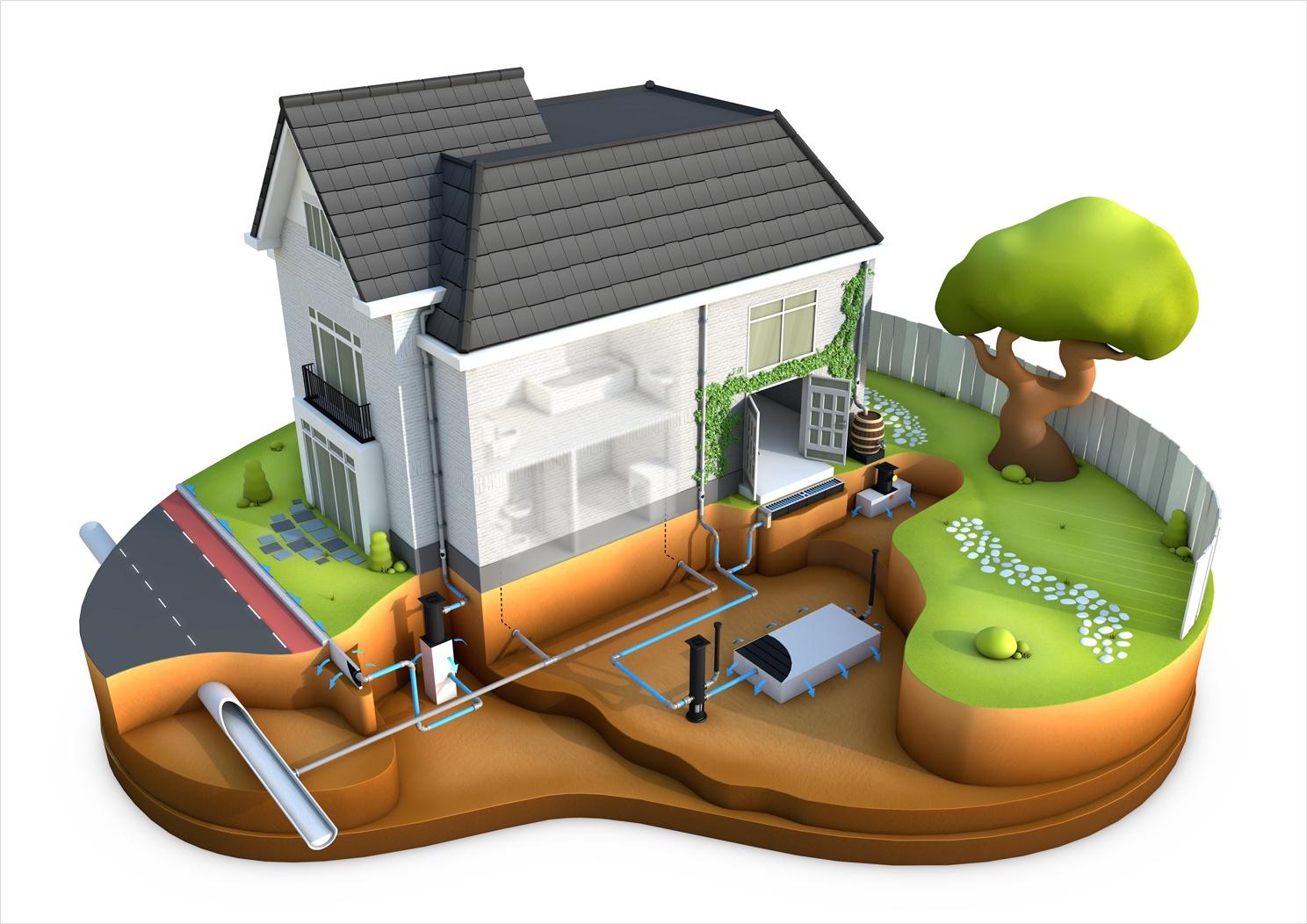 3D huis infographic over regen opvang.